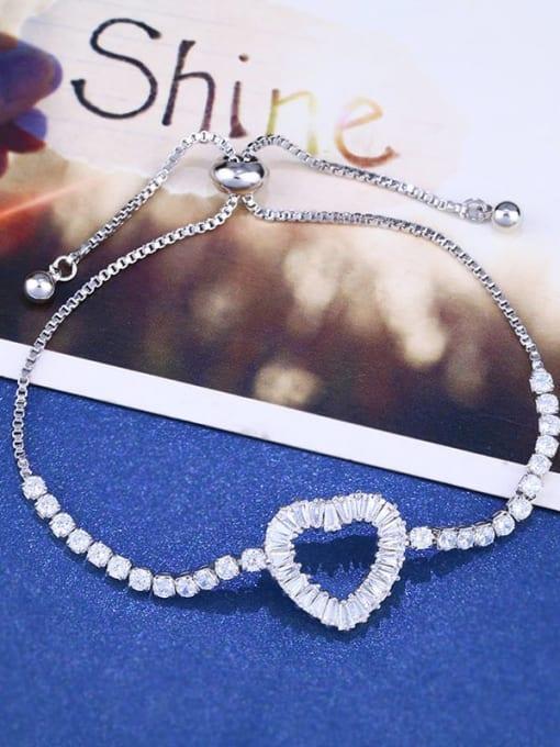 steel Brass Cubic Zirconia Heart Dainty Adjustable Bracelet