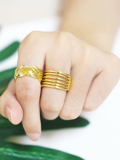 MMBEADS Brass Smooth Geometric Vintage Band Ring 4