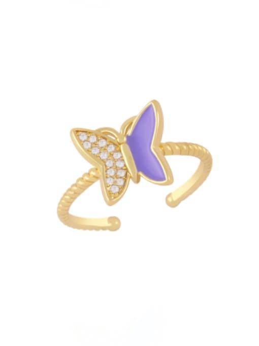 purple Brass Enamel Rhinestone Butterfly Minimalist Band Ring