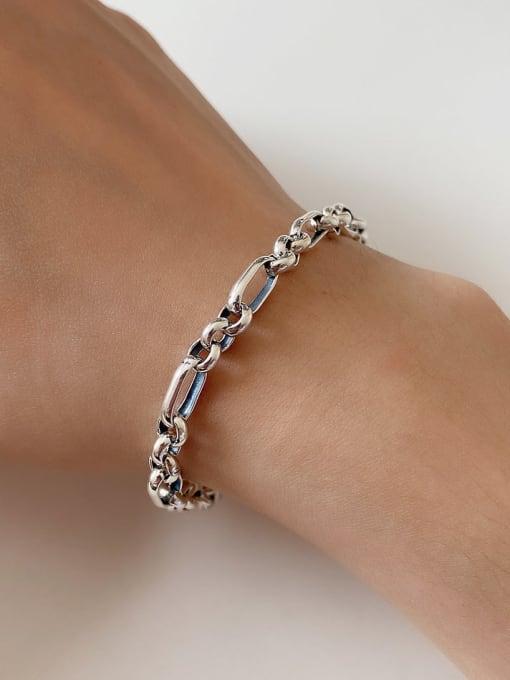 Boomer Cat 925 Sterling Silver Hollow Irregular Chain Vintage Link Bracelet 1