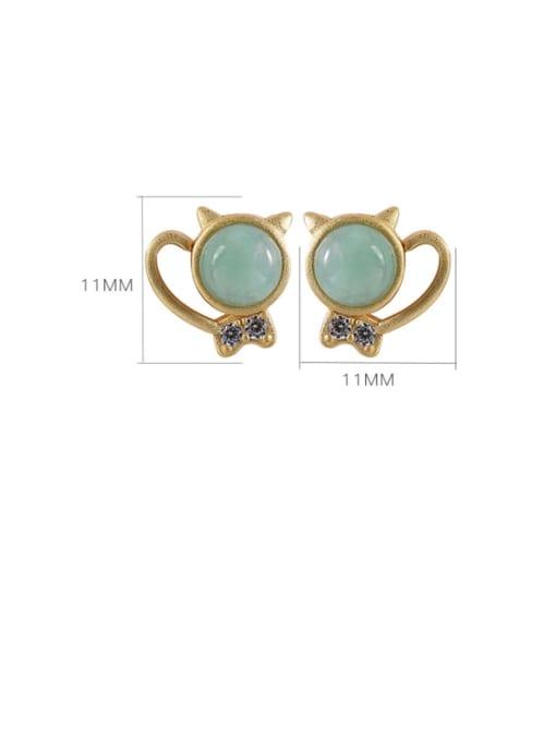 DEER 925 Sterling Silver Jade Cat Cute Stud Earring 4