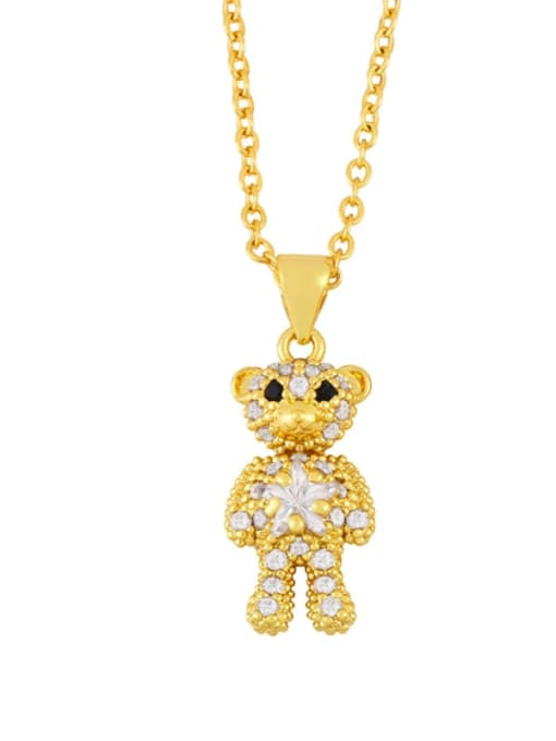 A Brass Cubic Zirconia  Cute Bear Pendant Necklace