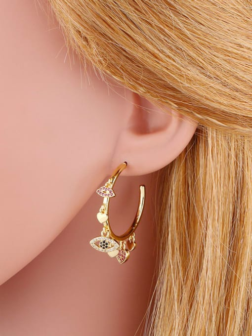 CC Brass Cubic Zirconia Mouth Vintage Huggie Earring 1