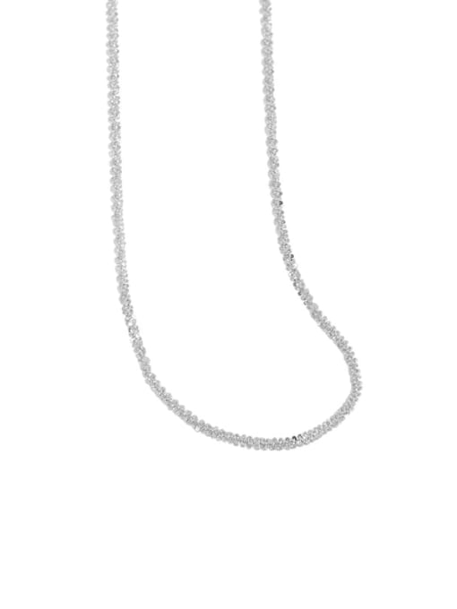 silvery 925 Sterling Silver Irregular Vintage Necklace