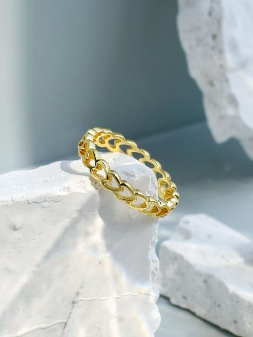 CHARME Brass Hollow Heart Minimalist Band Ring 1