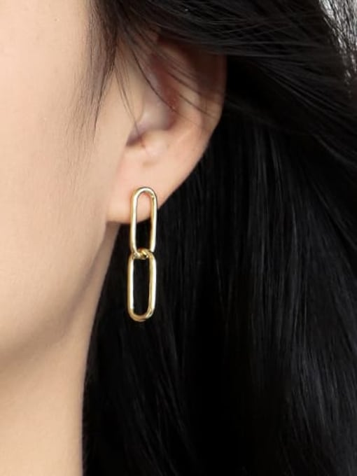 CHARME Brass Hollow Geometric Minimalist Drop Earring 2