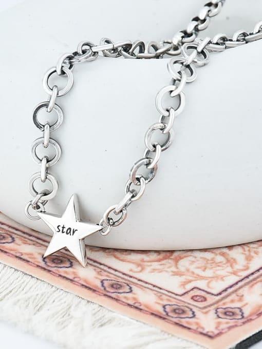 Star retro Necklace 925 Sterling Silver Vintage Multi Strand Necklace