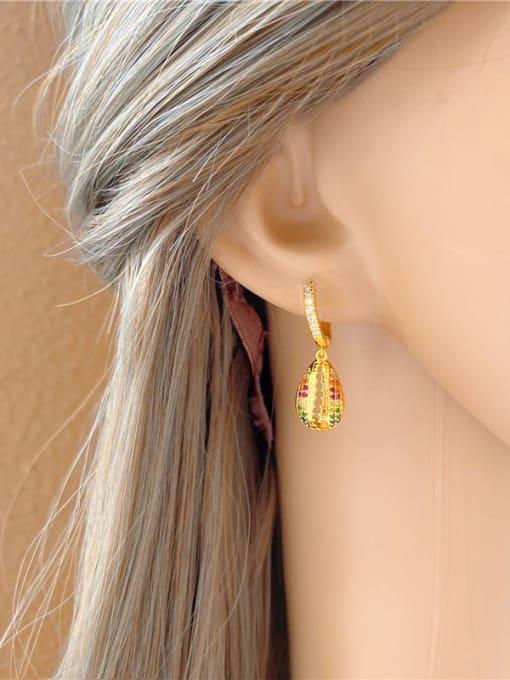 DUDU Brass Cubic Zirconia Water Drop Vintage Huggie Earring 1