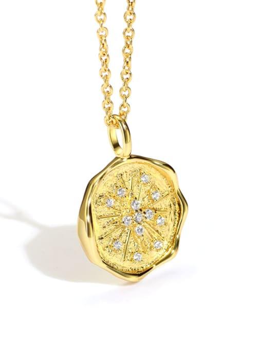 Gold postmark Necklace Brass Cubic Zirconia Geometric Minimalist Necklace
