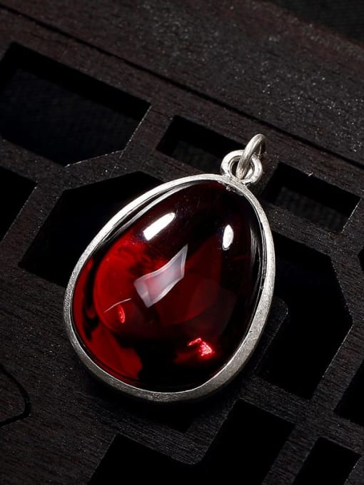 Pomegranate 990 Sterling Silver Jade Vintage Water Drop Pendant