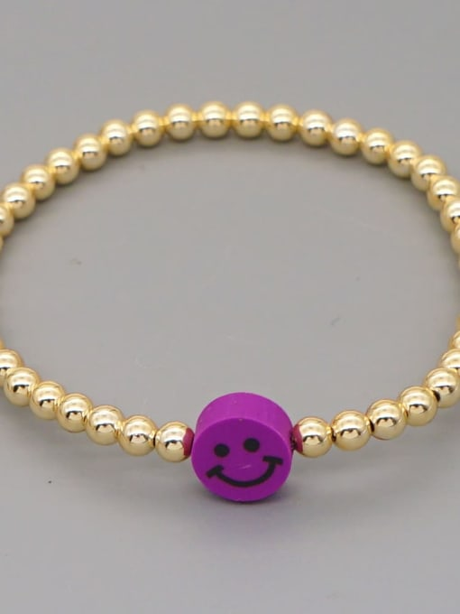 QT B200203A Stainless steel Polymer Clay Smiley Bohemia Beaded Bracelet