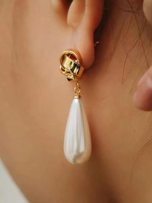 LI MUMU Brass Imitation Pearl Water Drop Minimalist Drop Earring 2
