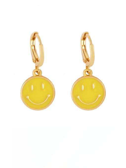 yellow Brass Enamel Smiley Minimalist Huggie Earring