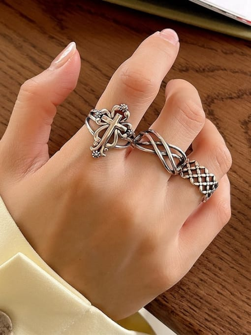 Boomer Cat 925 Sterling Silver Hollow Cross Vintage Band Ring 2