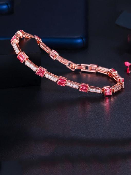 red Brass Cubic Zirconia Geometric Dainty Bracelet
