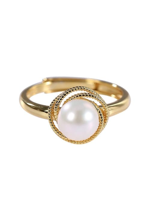 DEER 925 Sterling Silver Freshwater Pearl Round Vintage Band Ring 2