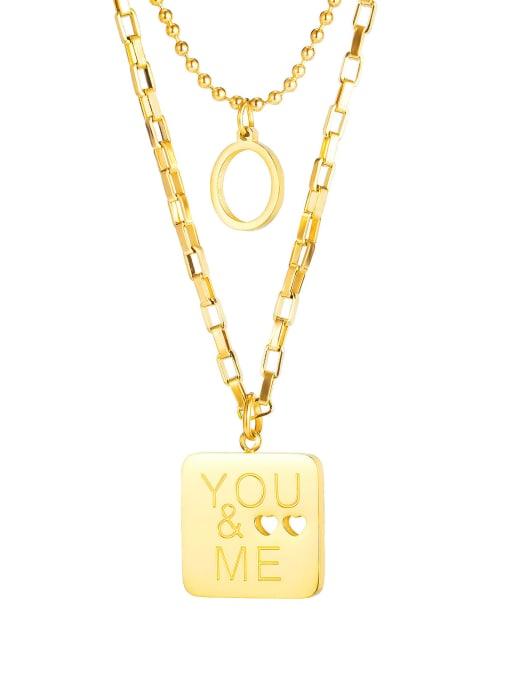 1864 Gold Plated Steel Necklace Titanium Steel Message Minimalist Multi Strand Necklace