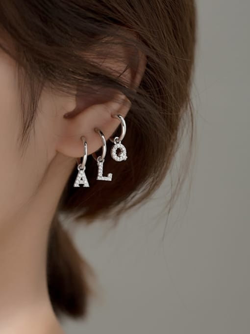 Rosh 925 Sterling Silver Cubic Zirconia Letter Minimalist Huggie Earring 1