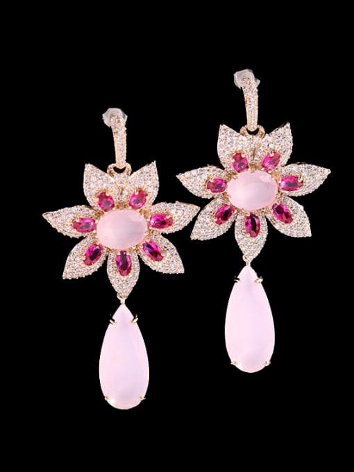 Jelly Pink Brass Cubic Zirconia Flower Luxury Drop Earring