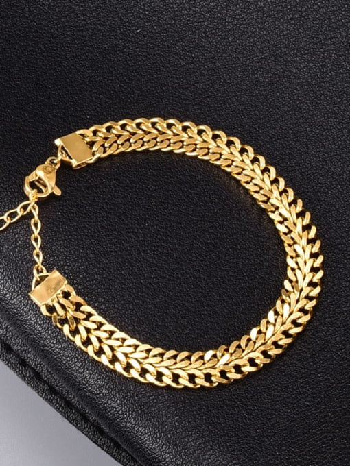 A TEEM Titanium Steel Hollow Geometric Vintage Link Bracelet 0