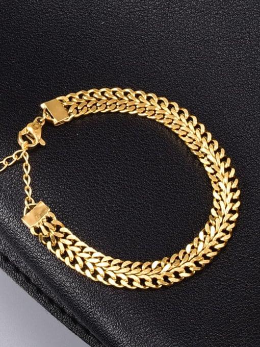 A TEEM Titanium Steel Hollow Geometric Vintage Link Bracelet