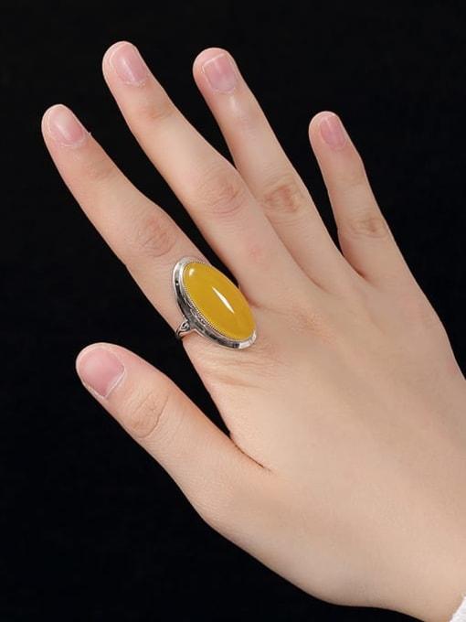 DEER 925 Sterling Silver Jade Oval Luxury Band Ring