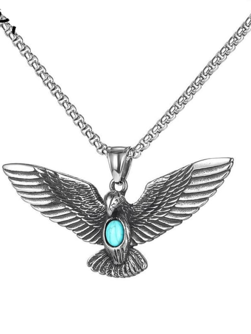 Open Sky Stainless steel Eagle  Turquoise Hip Hop Pendant