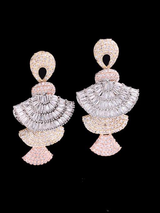 White zirconium Brass Cubic Zirconia Geometric Luxury Cluster Earring