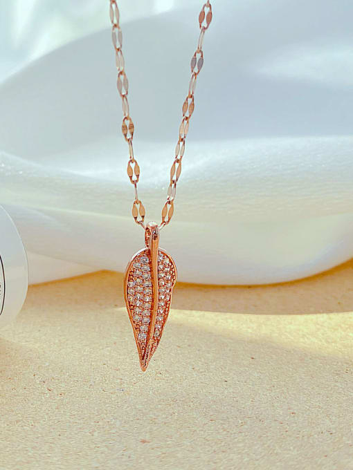 Open Sky Titanium Steel Cubic Zirconia Leaf Minimalist Necklace 3