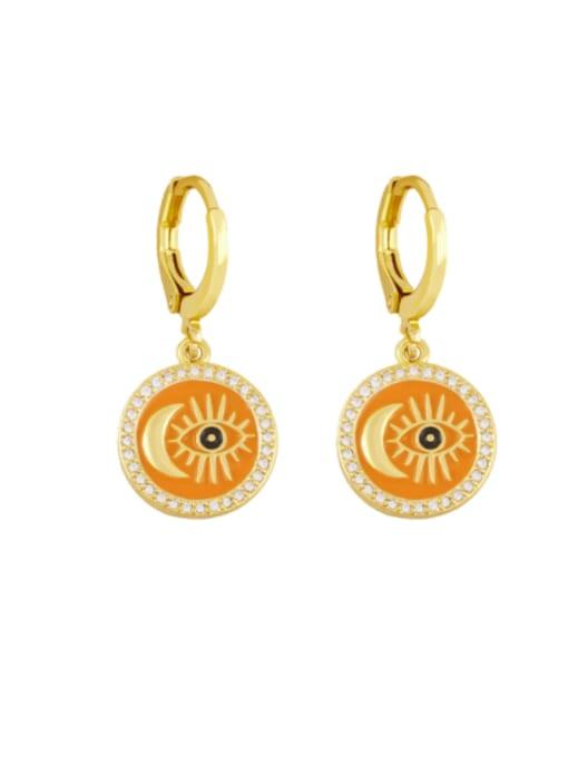 orange Brass Enamel Evil Eye Vintage Huggie Earring