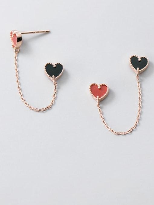 Rosh 925 Sterling Silver Enamel Heart Trend Drop Earring