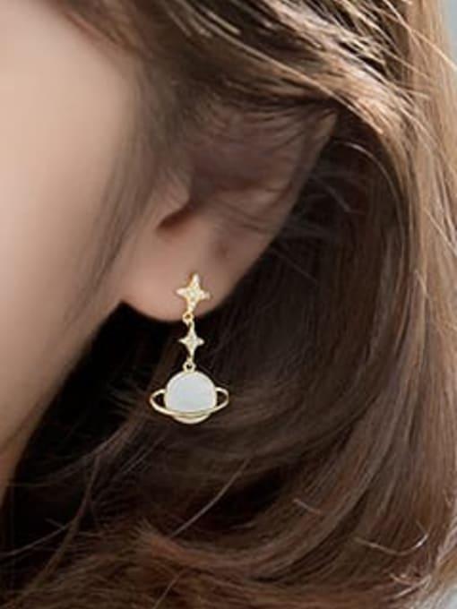 Rosh 925 Sterling Silver Shell Flower Minimalist Drop Earring 2