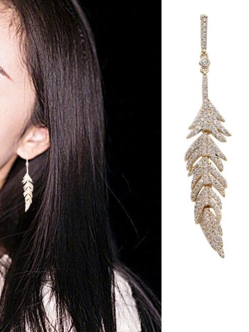 Luxu Brass Cubic Zirconia Leaf Vintage Drop Earring 2