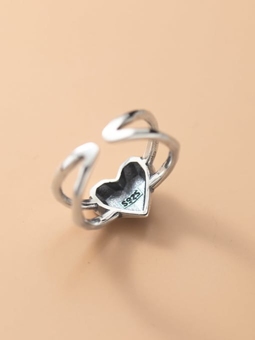 Rosh 925 Sterling Silver Heart Minimalist Band Ring 1