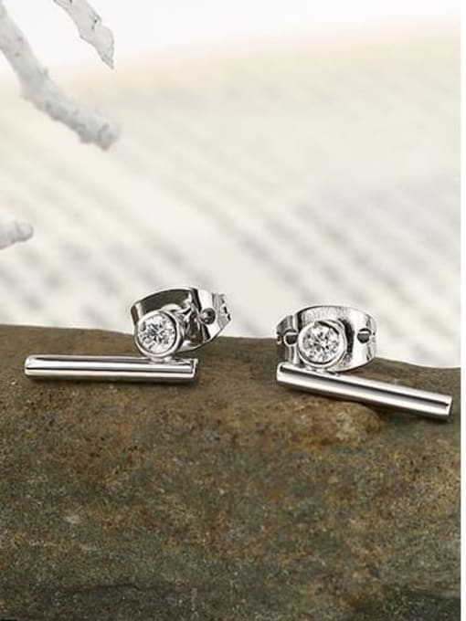CHARME Brass Rhinestone Geometric Minimalist Stud Earring 1