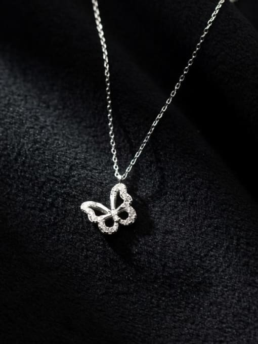 Rosh 925 Sterling Silver Cubic Zirconia Butterfly Minimalist Necklace