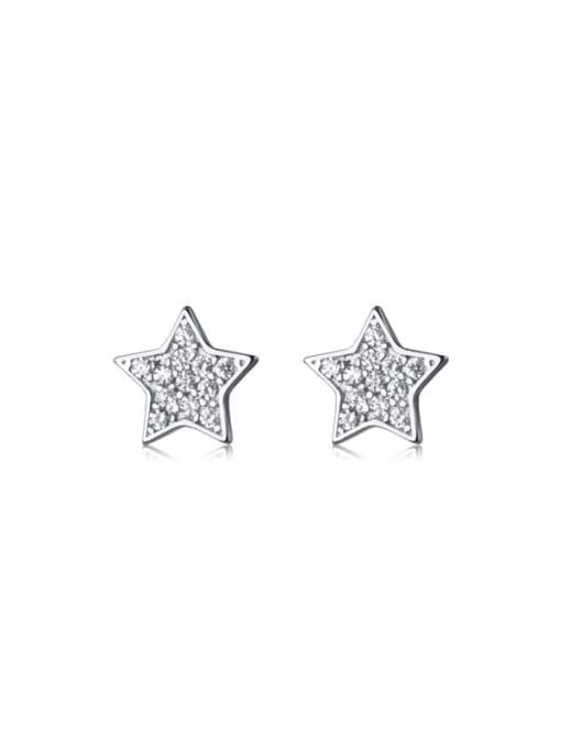 Rosh 925 Sterling Silver Rhinestone Star Minimalist Stud Earring
