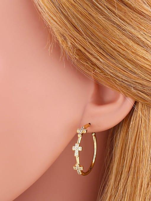 CC Brass Cubic Zirconia Cross Minimalist Cluster Earring 1