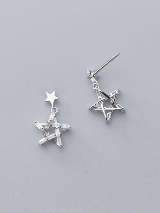 Rosh 925 Sterling Silver Cubic Zirconia Star Minimalist Drop Earring 2