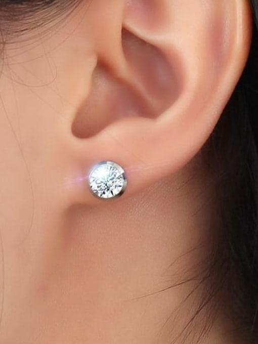CONG Titanium Steel Rhinestone Geometric Minimalist Stud Earring 1