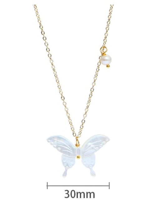 Necklace Brass Shell  Minimalist ButterflyEarring and Necklace Set