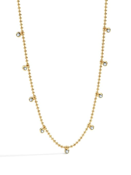 Gold Zircon Necklace Brass Bead Geometric Minimalist Beaded Necklace