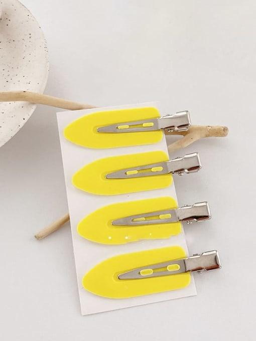 Yellow 4 Pack Alloy Enamel Minimalist Irregular  Multi Color Hair Barrette