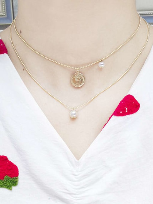 RAIN Brass Freshwater Pearl Geometric Vintage Beaded Necklace 1