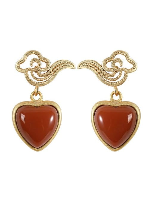 DEER 925 Sterling Silver Carnelian Heart Minimalist Drop Earring