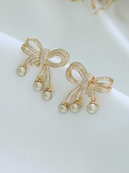 Luxu Brass Cubic Zirconia Bowknot Trend Stud Earring 1