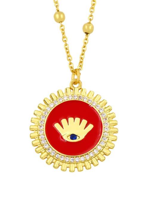 red Brass Rhinestone Enamel Round Hip Hop Necklace
