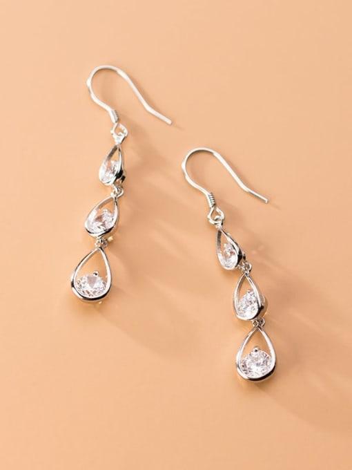 Rosh 925 Sterling Silver  Cubic Zirconia Water Drop Dainty Hook Earring 1