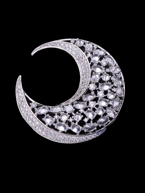 Platinum white Brass Cubic Zirconia Geometric Statement Brooch