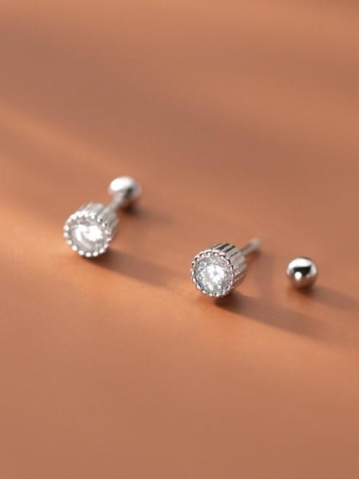 Rosh 925 Sterling Silver Rhinestone Round Minimalist Stud Earring 2